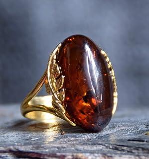 MJ Baltica anello Argento placcato Oro 14k e Ambra Naturale artigianale regolabile BZP003