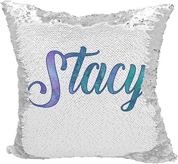 Personalized Mermaid Reversible Sequin Pillow Custom Name Mermaid Sequin Pillow White Silver