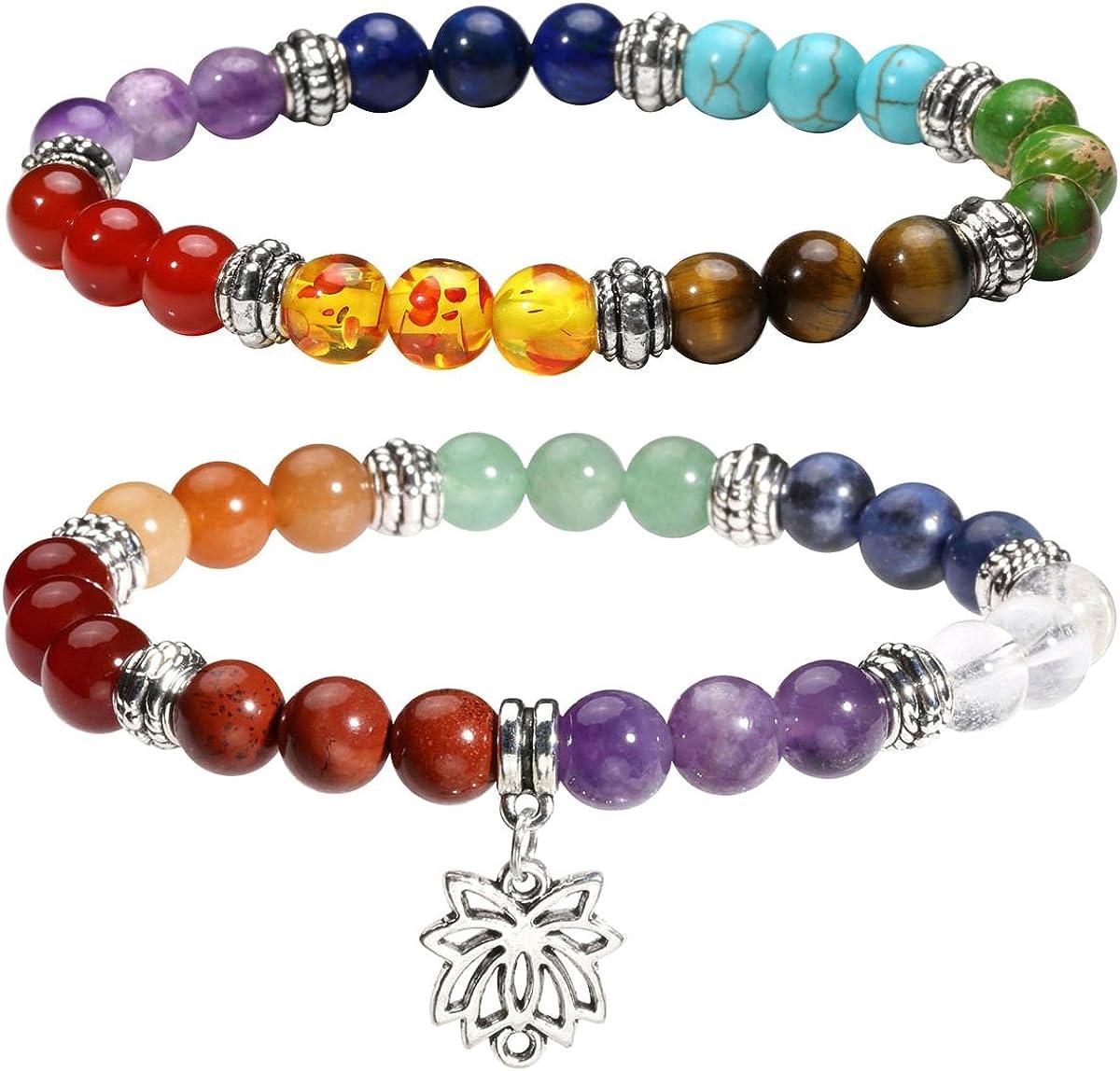 Eigso 7 Chakra Womens Reiki Healing Meditation Crystal Stone Stretch Bracelet with Lotus/Yoga/Tree/OM Symbol Sign