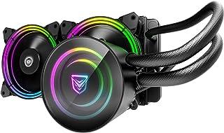 Nfortec Atria Flüssigkühlung, RGB, mit Standard Anschluss 5 V, 3 Pin, Belüftung mit 7 Flügeln, kompatibel mit Intel 10. Generation, Schwarz, 240 mm