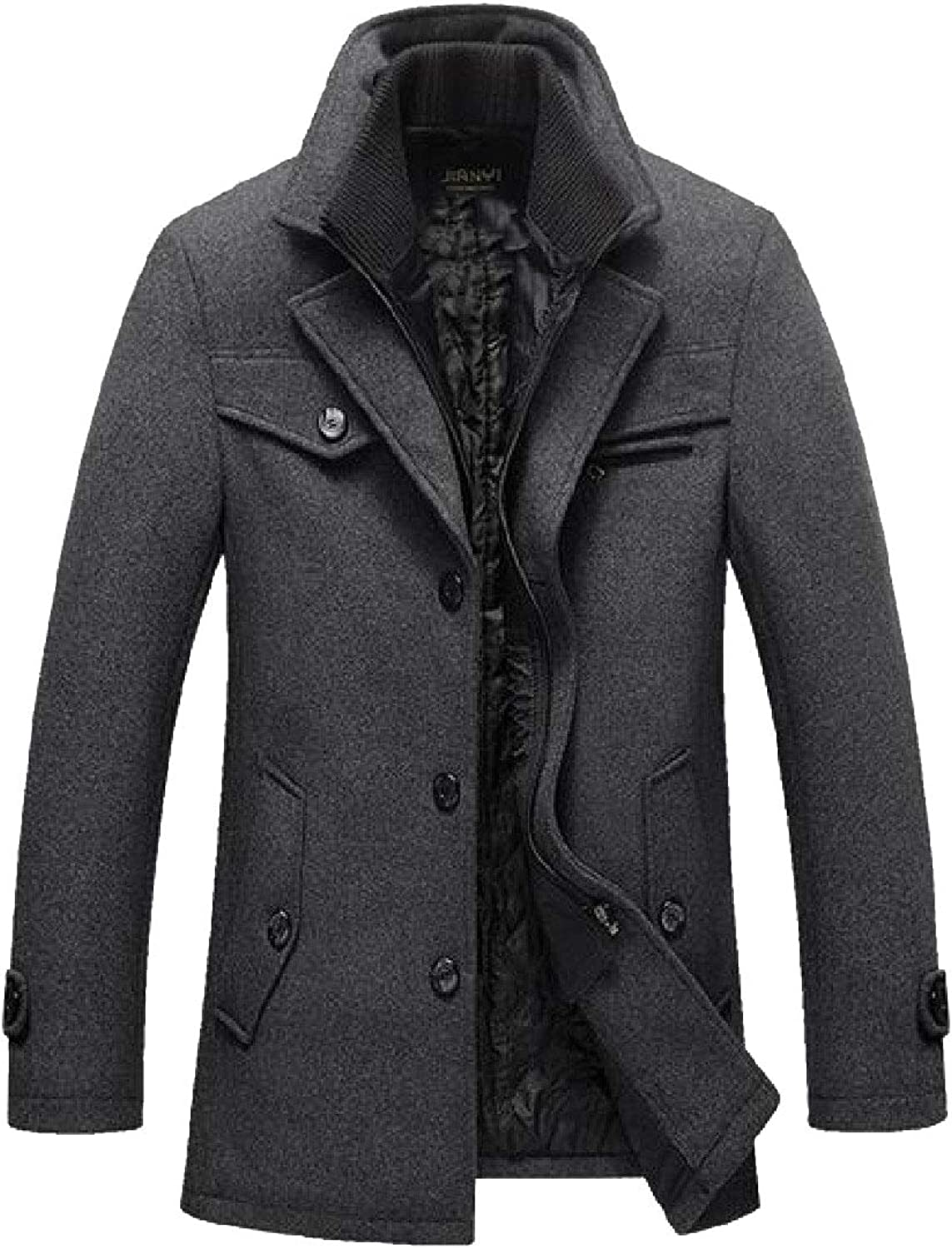 RkBao Mens Business Mid Long Woolen Casual Thicken Wool Trench Coat