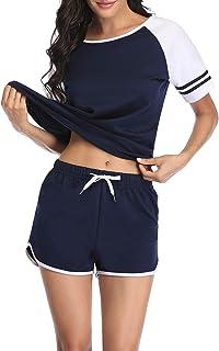 Pijamas para Mujer Verano 100% Algodon 2 Piezas de Ropa de Dormir Manga Corta Conjunto de Ropa Deportiva Loungewear S-XXL