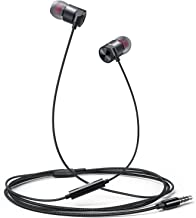 in Ear Headphones Wired Earbud with Line-in Microphone Heavy Bass Dynamic Driver Earphones with Non Tangle Fabric Braid for Running Gym Android Phones Music Player Dark Chrome T12