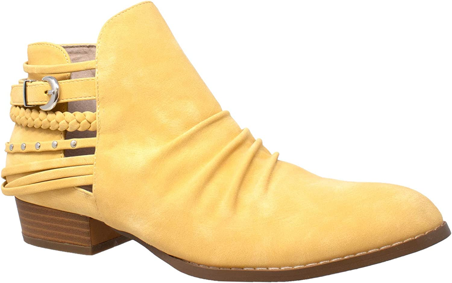 SOBEYO Womens Ankle Boots Western Quantity limited Strappy Charlotte Mall Bootie Heel Block Stud