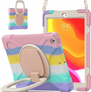 AMERTEER Case for iPad 10.2 inch 8th/7th 2020/2019, 360° Rotating Multi-Functional Handle-Kickstand Shockproof Cover with ...