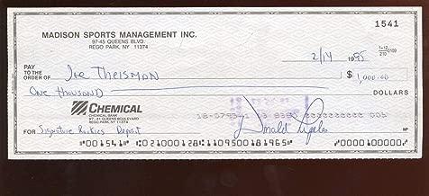 1995 Joe Theismann Signed/Endorsed Check Hologram - NFL Cut Signatures