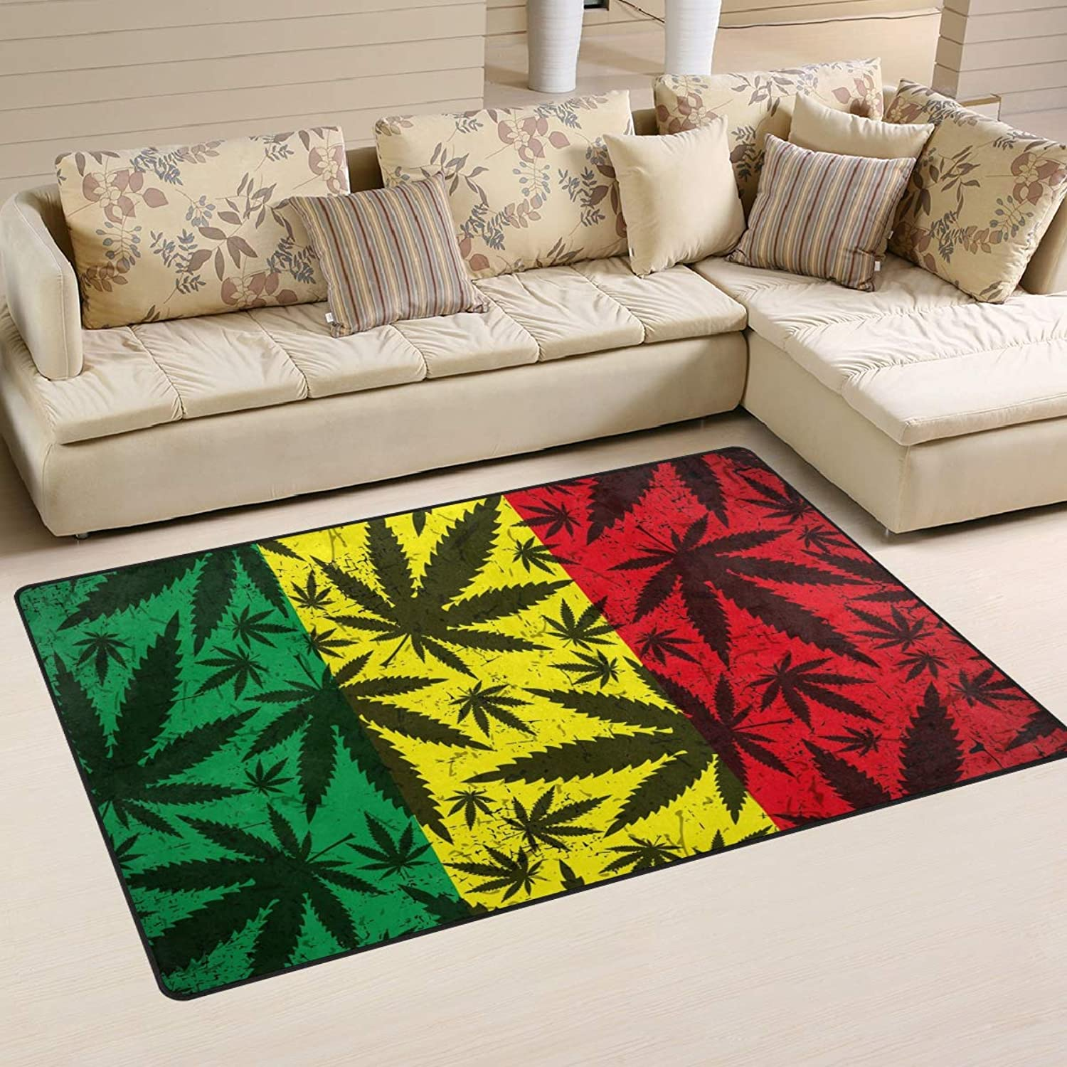 Area Rugs Doormats Red Yellow Green Leaf 5'x3'3 (60x39 Inches) Non-Slip Floor Mat Soft Carpet for Living Dining Bedroom Home