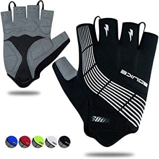 Souke Sports Cycling Bike Gloves Padded Half Finger Bicycle Gloves Shock-Absorbing Anti-Slip Breathable MTB Road Biking Gl...