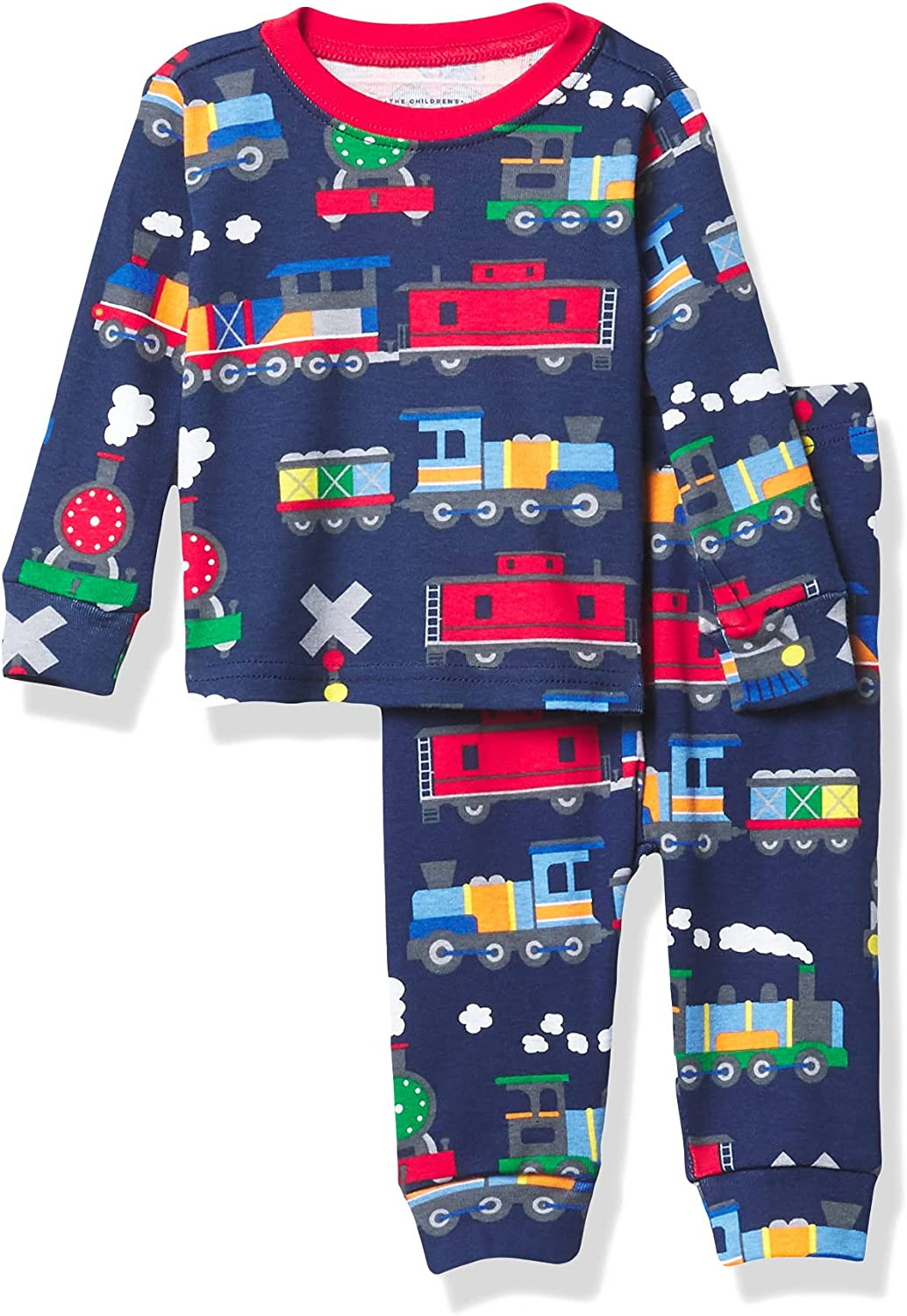 The Children's Place Boys' Baby and Toddler Trains Snug Fit Cotton Pajamas