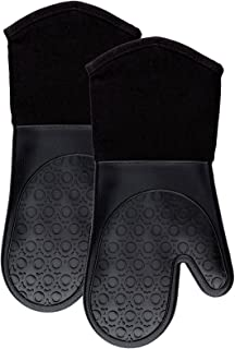 Silicone Oven Mitts with Quilted Cotton Lining - Professional Heat Resistant Potholder Kitchen Gloves - 1 Pair (Black) - Homwe
