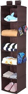 Magicfly 吊り下げ収納 衣類ラック 6段 折り畳み 長130cm 不織布製 クローゼット (ブラウン)
