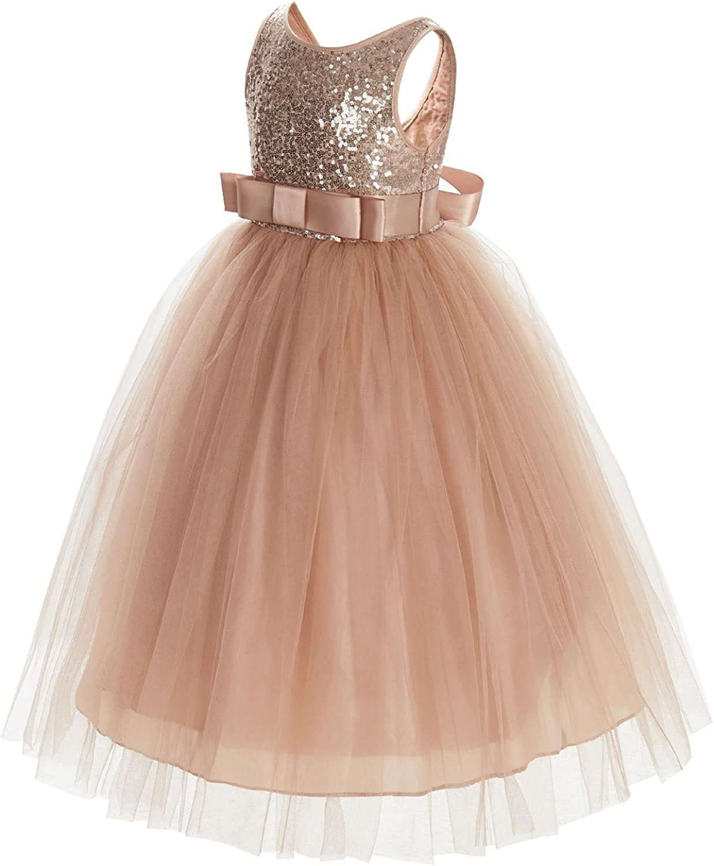 ekidsbridal Sequin V-Back Junior Flower Girl Dress Social Mini Bride Ballroom Gown LG1
