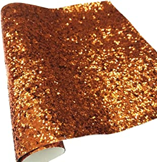 """ZAIONE 8"""" x 53"""" (21cm x 135cm) Roll Sparkly Chunky Glitter Vinyl Fabric Fine Glitter PU Leather Canvas Back Material for Shoes Bag Sewing Patchwork DIY Bow Craft Applique (Orange)"""