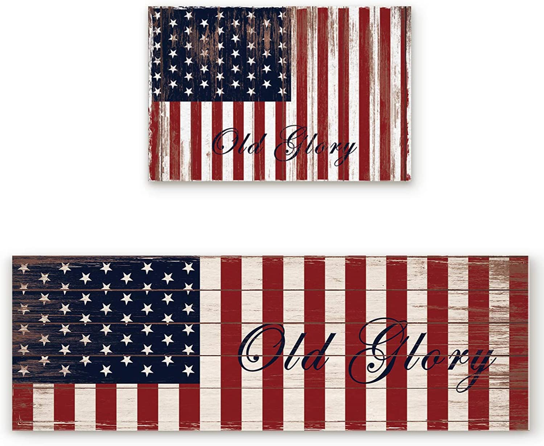 KAROLA 2 Piece Kitchen Mat Non-Slip Doormat Bathroom Runner Rug Set - American Flag Old Glory 19.7 x31.5 +19.7 x63