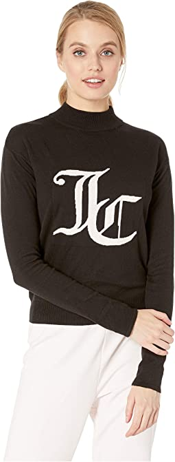 Mock Neck Intarsia Logo Sweater