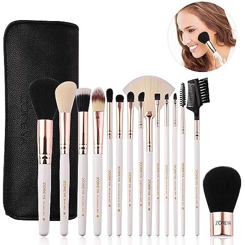 ZOREYA Makeup Brushes Premium Luxury 15pc Rose Gold Make Up Brushes Set With Professional Easy Travel