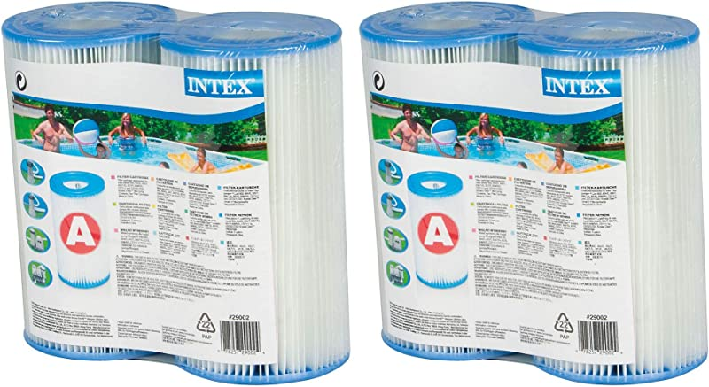 Intex Type A Easy Set Above Ground Pool Replacment Filter Cartridge 4 Pack