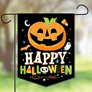 Big Dot of Happiness Jack-O'-Lantern Halloween - Outdoor Lawn and Yard Home Decorations - Halloween Party Garden Flag - 12 x 15.25 inches