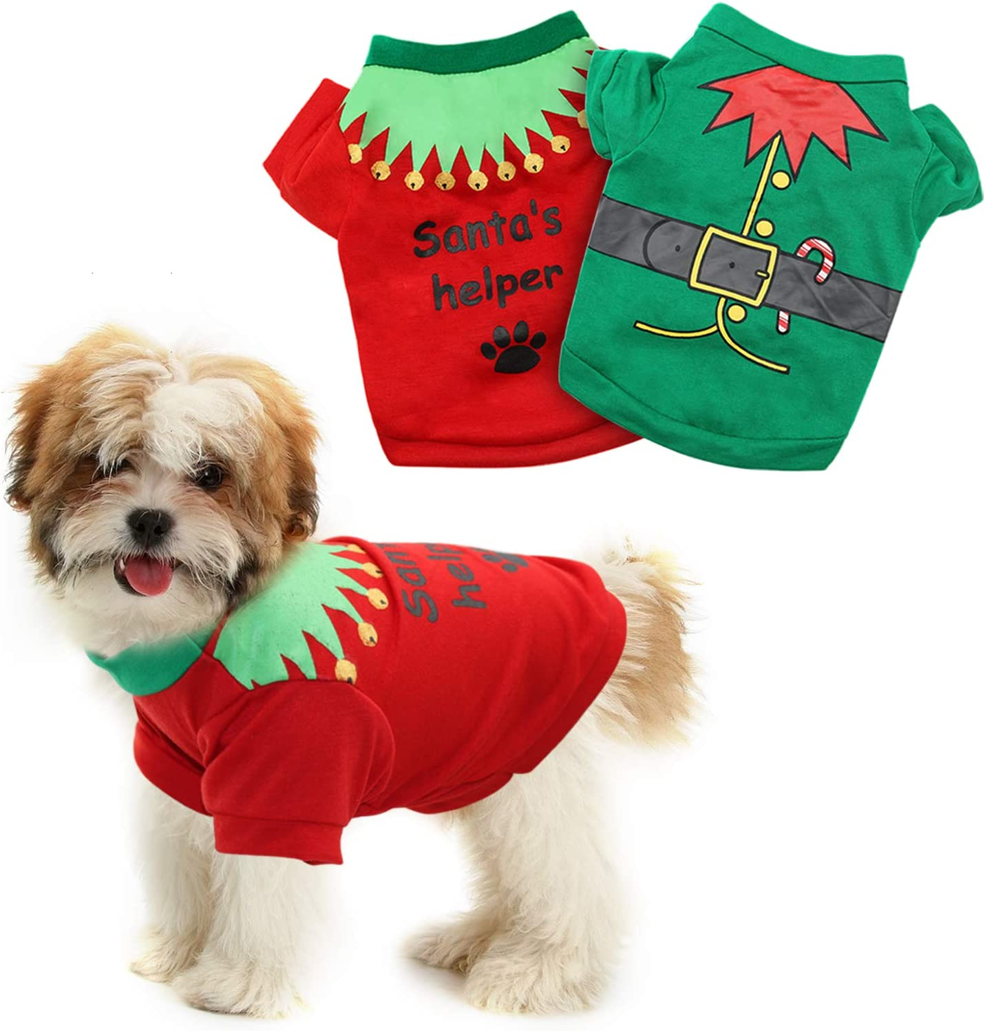 HYLYUN 2 Pack Christmas Dog Shirts Shirt Puppy Pet - T-S Printed New life Our shop OFFers the best service