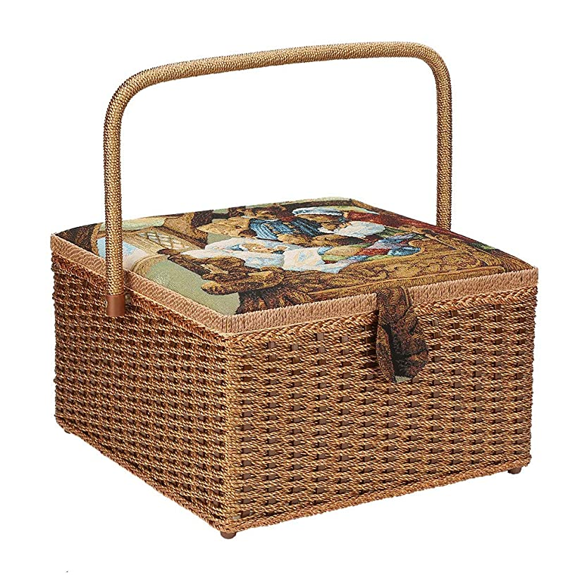 Sewing Storage Basket Vintage Hand-Woven Sewing Thread Needle Scissors Pins Thimbles Household Organizer Box Stitching Hemming Accessories Organizing 12.6 × 12.6 × 7.5 in