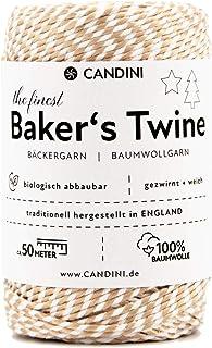 Candini Bäckergarn Gold Metallic | 50m | weiches Bastelgarn aus Baumwolle - Premium Qualität aus England, zweifarbig - Bakers Twine, Bastelschnur, Baumwollschnur, Geschenkband