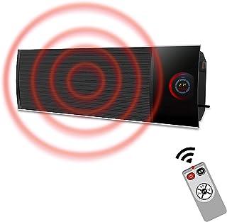 Radiador infrarrojo, Calentador de Pared, 2200/3200W de Potencia, protección IPX4, Control Remoto, Negro - Montaje Pared -...