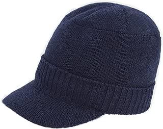 Dahlia Men's Wool Blend Visor Beanie Cap, Velour Fleece Lined