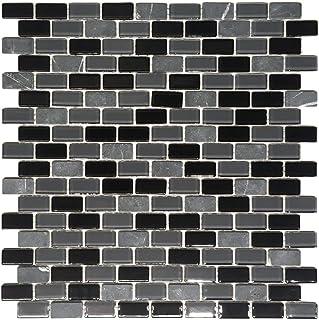 Squarefeet Depot La Jacond Mini Brick Stone and Glass Blend Mosaic Wall Tile Backsplash Kitchen Bath