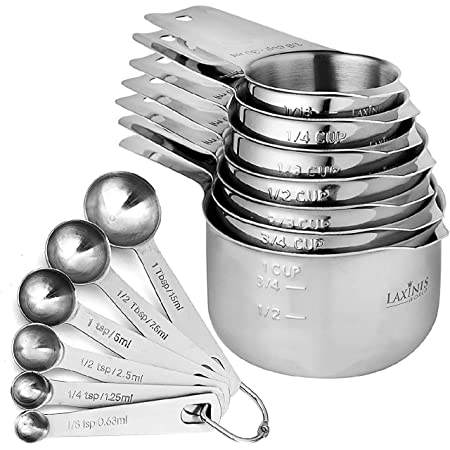13 Piece Measuring Cups and Measuring Spoons Set, Stainless Steel 7 Measuring Cups and 6 Measuring Spoons, Stackable, By Laxinis World