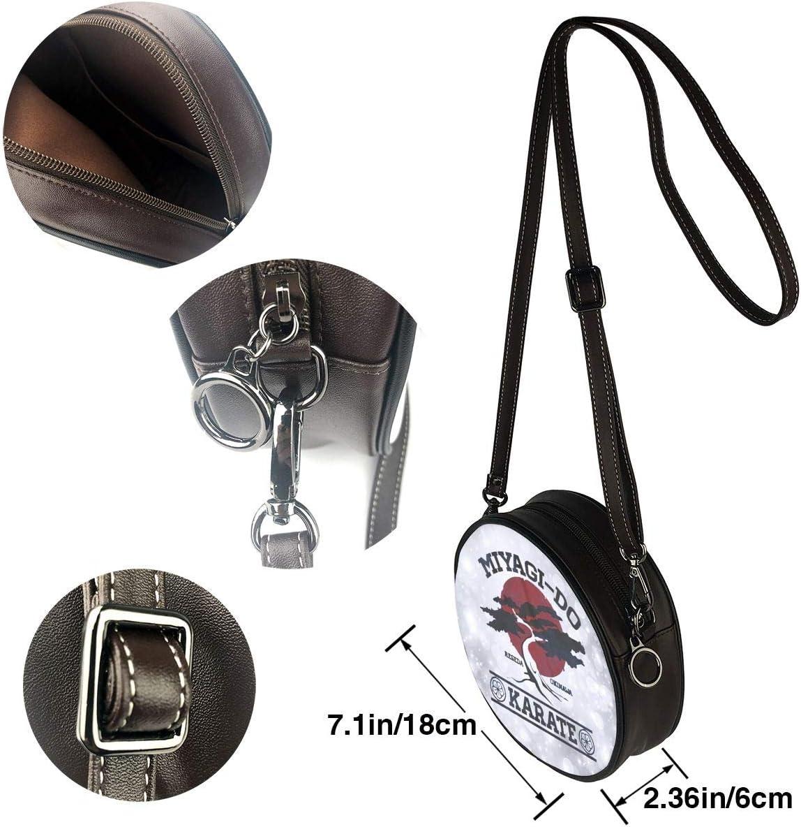 Sherrygeoffrey Karate Kid Miyagi Do Women Shoulder Bag Purses Leather Round Crossbody