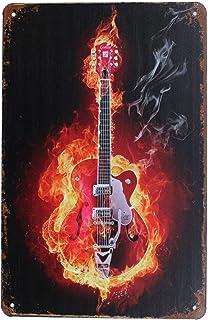 36 x 25 3-D Vintage Metal Sign Guitar and Pick