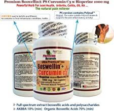 Advanced Boswellin PS + Curcumin C3 1000 mg with Bioperine 90 caplets Powerful Anti-Inflammation Arthritis Joint and Colon Support