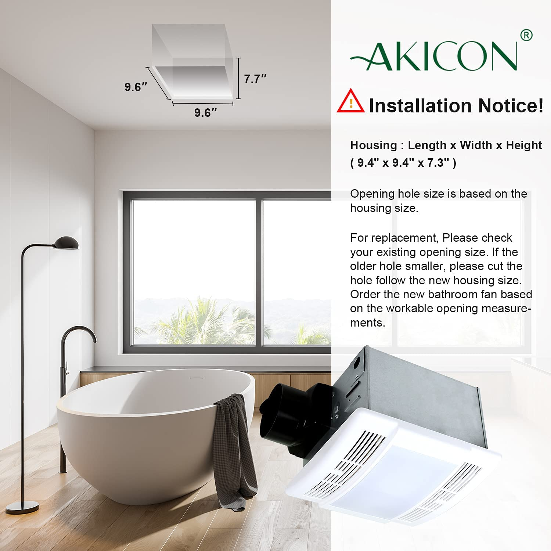 Bathroom Fan with Light Ultra Quiet 20CFM 20.20Sone Ventilation Fan Exhaust  Fan with LED Light(202W E20 Base LED Bulb Included)Akicon