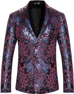 Sportides Men's Casual Slim Fit Velvet Flower Printed Two Button Blazer Jacket Suits JZA132 WineRed L