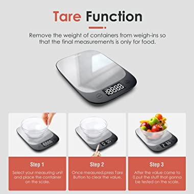 Digital Food Scale,Sinocare Kitchen Scale for Baking,Ultra Slim Design Cooking Scales Syncs Data with App, Backlight LED Disp