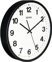 ساعة جدارية سوداء من سيكو QXA640KL تتميز بعقرب ثواني هادئ، والساعة بقطر 30.5 سم