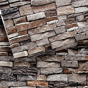 Brick Wallpaper Stone Textured Removable And Waterproof For Home Design And Room Decoration Super Large Size 0 53m X 10m 393 7 X 21 Amazon Com