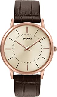 Bulova Men's Stainless Steel Analog-Quartz Watch with Leather Strap, Brown, 0.78 (Model: 97A126)