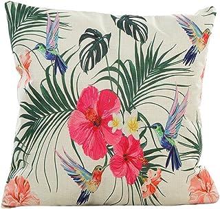 Fossrn Tropical Funda Cojines 45x45 - con Hojas Flor y Bird Lino Funda de Almohada Decoración para Hogar Cama Sofa