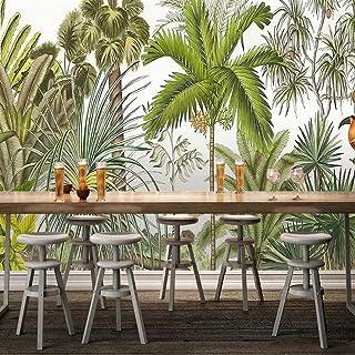ورق حائط ثلاثي الأبعاد من Zffmss للنباتات الاستوائية والأخضر وأشجار جوز الهند الخلفية لنقار الخشب في المطبخ وغرفة المعيشة