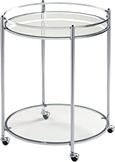 Studio Designs Home Veranda Bar Round Cart In Chrome with Clear Glass 71006