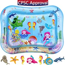 Rabosky Tummy Time Water Play Mat, Inflatable Baby Toy for 3 6 9 to 12 Months Boys or Girls, Largest Size, 7 Exclusive Colorful Double Sided Floating Toys, Perfect Infant Activity Play Center Gift