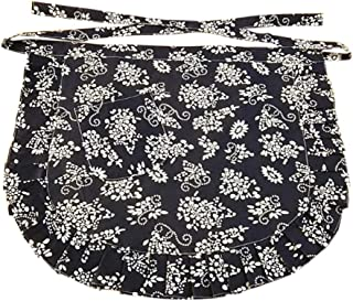 CRB Fashion Waist Apron with Pocket Cotton Commercial Restaurant Waitress Waiter for Girl Woman Half Bistro Aprons (Floral Navy)