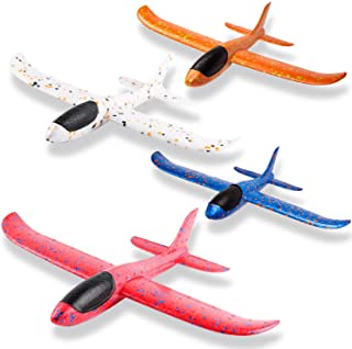 WATINC 4Pcs 14.5inch Airplanes, Manual Throwing Outdoor Sports Toys for Challenging, Children Games Toy Gliders Fun, Glider Plane for Kids, Birthday Gift Flying Gliders, Foam Airplane for Boys & Girls
