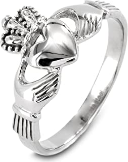 | ELYA Rings for Women Stainless Steel Irish Claddagh with Celtic Knot Eternity Design Ring - Sizes 5-9