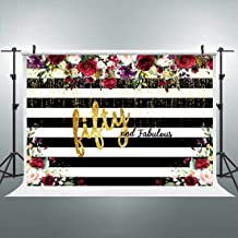 Riyidecor Fabulous 50th Birthday Backdrop Black and White Floral Striped Photography Background Woman Fifty Years Old 7x5 Feet Cake Table Banner Birthday Decoration Props Party Photo Shoot Vinyl