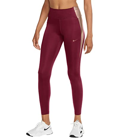 Nike One Tights Color-Block (Dark Beetroot/Metallic Red Bronze) Women