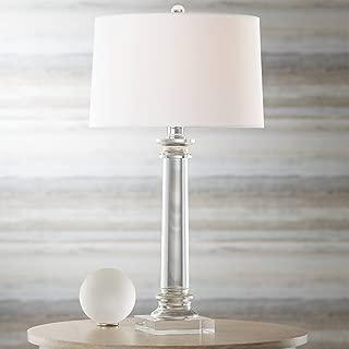 Modern Table Lamp Crystal Column Geneva White Drum Shade for Living Room Family Bedroom Bedside Nightstand - Vienna Full Spectrum