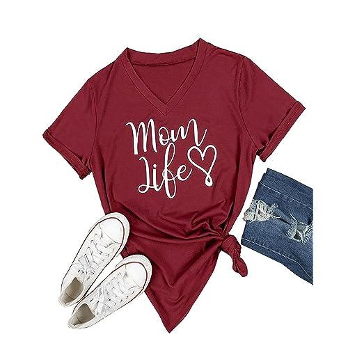 12b2072c5 Gemijack Womens T-Shirt Casual Cotton Mom Life Print Graphic Tees Short  Sleeve Tops