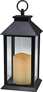 Hanging Glass Panes Lantern Portable Led Candle Light Operated by 3AAA Battery Use for Garden Yard, Indoor & Decoration etc (Black)